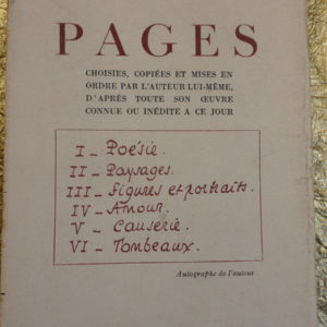 LOUYS  PAGES choisies, copiees et mises en ordre par l'auteur lui-meme